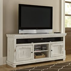 "Features: -Casual style. -Includes 2 small partitions set back 6.25"" from the front. -Removable shelves: Yes. Product Type: -TV Stand. Design: -Enclosed storage. Frame Material: -Wood. Distress"