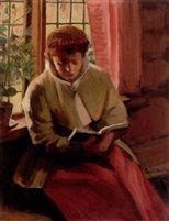 Interiör med kulla som läser by Sam Uhrdin