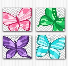 Butterfly Nursery Art Prints - Butterfly Wall Art, Baby Girl Nursery Decor, Art for Kids, Set of Four Butterfly Prints, Chevron