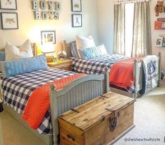 Boys Trundle Bed, Twin Beds For Boys, Two Twin Beds, Kid Beds, Pottery Barn Bedrooms, Pottery Barn Kids, Shared Boys Rooms, Kids Rooms, Boys Room Design