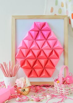 DIY Geometric Paper Easter Egg Craft Ideas & Tutorials | For More Great DIY Craft Projects & Other Fun Easter Decorating Ideas Check Out DIYReady.com