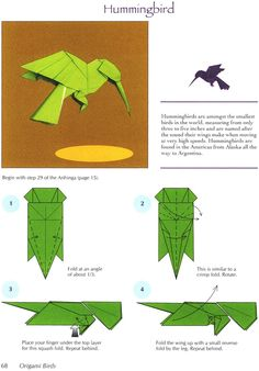Origami Hummingbird Page 1 Dover Publications