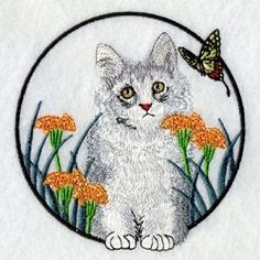 Butterfly and Kitten 3 - 2 Sizes! | Tags | Machine Embroidery Designs | SWAKembroidery.com Ace Points Embroidery