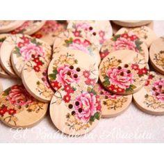 Botón de madera estampado rosa oriental 30mm