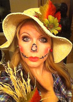 My Scarecrow courtesy of Pinterest! Sexy/cute Halloween makeup copied from original post by adorable girl on Pinterest.