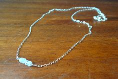 Sterling Silver Chain Necklace with tiny row of 4 Moonstone