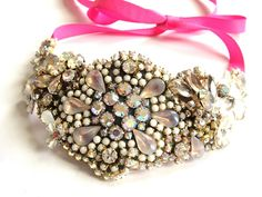 Wedding necklace - Bridal Rhinestone bib necklace - chrystal statement piece in delicate pink and white - OOAKjewelz Couture Collection. €200,00, via Etsy.