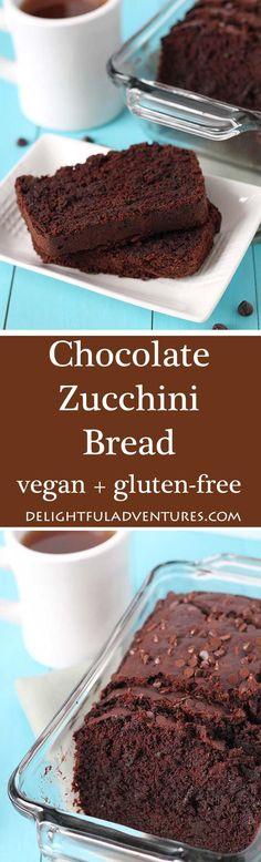 This nut free Vegan Gluten Free Chocolate Zucchini Bread gets its deep chocolaty flavour from dark chocolate and cocoa powder! No one will know it contains veggies! #zucchini #zucchinirecipe #veganchocolaterecipe