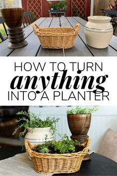 How to take anything you find at the thrift store and turn it into a planter! Tips and tricks for turning baskets, vases, or bowls into a cute planter for your home. #DIYplanter #diyproject #planter #houseplants