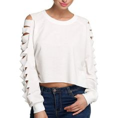 White Ripped Sleeve Plain T-shirt ($29) ❤ liked on Polyvore featuring tops, t-shirts, long t shirts, long tee, distressed t shirt, white top and long white tee