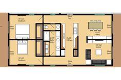 Modern Style House Plan - 2 Beds 1 Baths 1250 Sq/Ft Plan #474-34 Floor Plan - Main Floor Plan - Houseplans.com