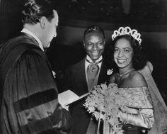 Nat King Cole & wife Maria w/ Adam Clayton Powell Jr.