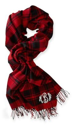 Monogram red plaid scarf