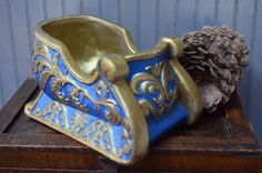 $21.90 ✿ bluefolkhome on etsy ✿ Ceramic Sleigh Aqua Blue and Gold Sleigh Handcrafted Winter or Christmas Decoration Vintage 1980 I Ship Internationally