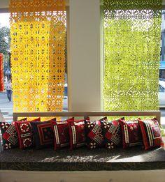 perforated felt curtains. kurak (patchwork) cushions. handmade by Tumamr Art Group