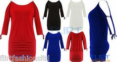 New Sexy Open Sleeve Stretch Tunic Dress Batwing Top Mini Womens Ladies UK 8-14
