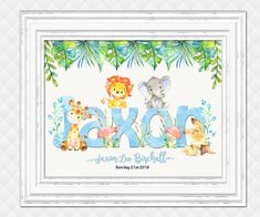 Custom name print for baby boy personalized animals nursery art kids room wall decor elephant giraffe digital print blue green poster