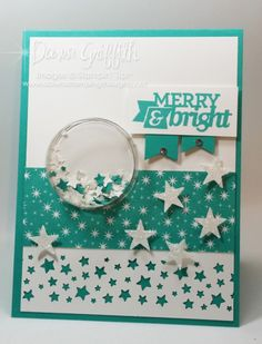 September 18, 2014 Dawns stamping thoughts:  Stampin'Up! Merry & Bright shaker card Motley Monsters dsp, Confetti Stars punch, Dazzling Diamond Glimmer paper, Itty Bitty Accents Punch Pack, Banner punch, Circle Treat Cups