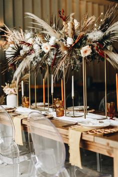 Get Inspired by the Folksy Fall Palette and Dried Palms in This Wedding Inspo at The Mulberry NSB : Dried palms, amber + burnt orange accents, and elegant long candles for this fall themed wedding reception decor Wedding Reception Decorations, Wedding Centerpieces, Wedding Table, Modern Wedding Reception, Centerpiece Ideas, Floral Centerpieces, Table Centerpieces, Floral Wedding, Wedding Colors