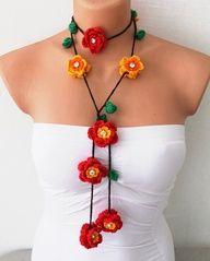 Crochet Flower Necklace Free Pattern | crochet necklace