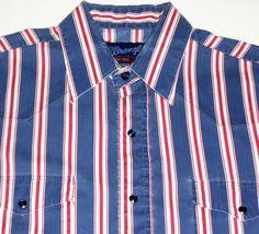 WRANGLER Western Pearl Snap Shirt Long Sleeve L/S Red White Blue Striped #Wrangler #Western