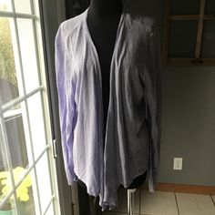 Chico's Lavender Silver Shimmer Rayon Viscose Open Draped Knit Cardigan Top 3 #Chicos #Cardigan #DressyHoliday