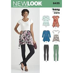 Misses' knit tops and leggings pattern features flattering loose fit tunic length top with sleeve, neckline and hem variations for comfort and style. New Look sewing pattern. Tunic Sewing Patterns, Clothing Patterns, Paper Patterns, Mccalls Patterns, Loom Patterns, Knitting Patterns, Knit Leggings, Tops For Leggings, Corsage