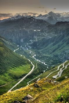 Furka Pass in Switzerland. This famous Alpine passage is not for the faint hearted, but rather for bikers and sport car enthusiasts.