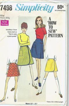Uncut, 25.5 Inch Waist, Vintage 1960s Sewing Pattern, Simplicity 7498, Misses Wrap Skirt and shorts, Learn to Sew, size 25 inch waist, easy