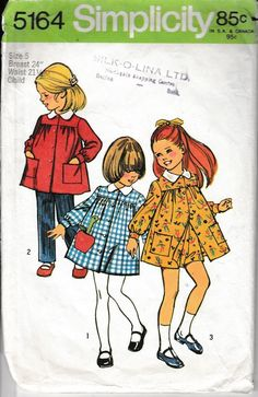 Simplicity 5164 Little Girls Smock Dress Pants Vintage 1970's Sewing Pattern