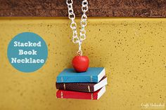 Stacked Book Necklace {Teacher Gift Idea} Full tutorial- so easy and inexpensive!