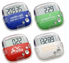 The Custom Pedometer – Flip Clip is both fashionable and portable way to track your fitness activities.  Trackall steps and calories burned Replaceable cell battery for convenience Metric mode or Imperial mode systems available Save power in energy-save mode and help save the planet! Secure clip stays in place Large LCD display for easy viewing
