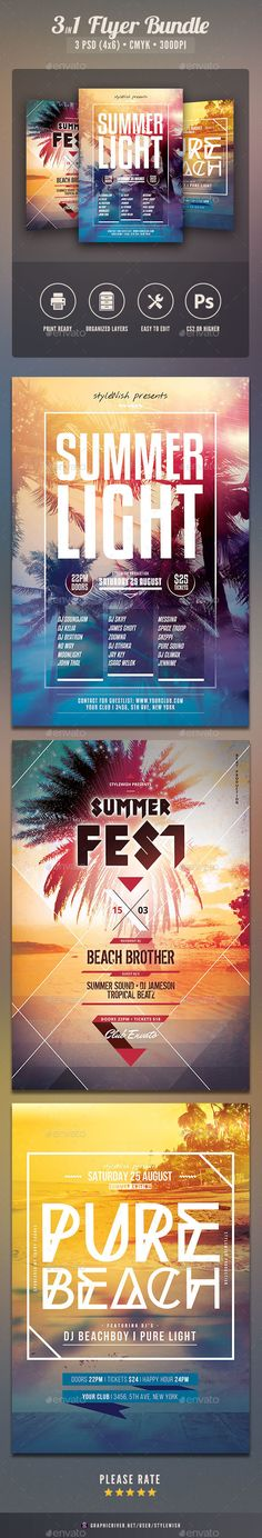 Summer Flyer Bundle Vol.08 by styleWish Summer Flyer Bundle Vol.08The PSD files are very well organized in folders and layers. You can modify everything very easy and qui