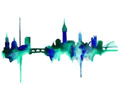 Dublin Ireland Skyline Watercolor Painting Print - Home decor and scenic wall art Ireland aqua and blue artwork by KelseyMDesigns on Etsy https://www.etsy.com/listing/211756553/dublin-ireland-skyline-watercolor