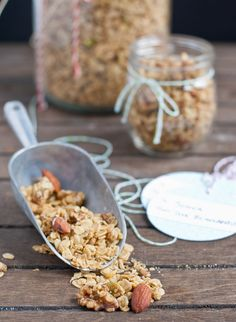 SAVORY GRANOLA LOADED WITH PARMESAN CHEESE AND RANCH SEASONING (rolled oats, nuts, seeds, parmesan, dried parsley, dried dill, olive oil)