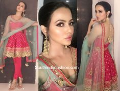 Sana Khaan in Poonams Kaurture – South India Fashion Indian Outfits Modern, Indian Designer Outfits, Sharara Designs, Lehenga Designs, Indian Attire, Indian Wear, Western Dresses For Women, Indian Bridesmaids, Glamorous Outfits