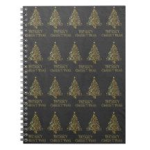 Merry Christmas Trees Stars Black Gold Elegant Notebook