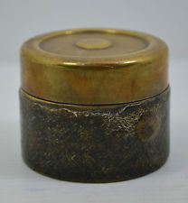 superb antique victorian traveling inkwell brass lid german ? glass intact