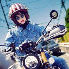 Biker Girl, Motorbikes, Honda, Japanese, Lady, Vehicles, Illustration, Motorcycles, Glasses