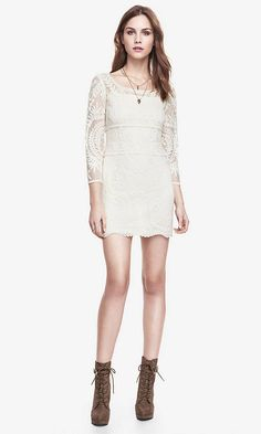 Express Baroque Lace Dress in Ivory - On Sale for $39.99 - Plus take an Additional 20% Off in Cart!
