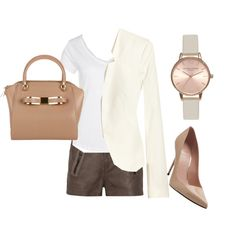 """""""Great white and neutrals outfit"""" by funstyleloving on Polyvore"""