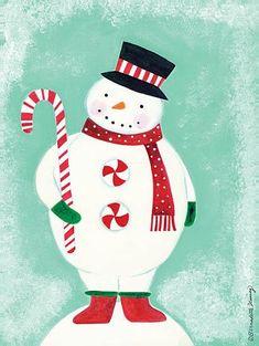 Snowman with a candy cane - Bernadette Deming art