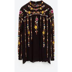 PLUMETIS TUNIC - Blouses-TOPS-WOMAN | ZARA United Kingdom (195 SAR) ❤ liked on Polyvore featuring tops, tunics, zara, purple top and purple tunic