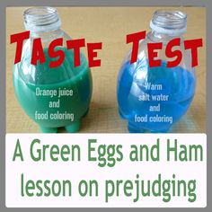 Fun activity to go along with the book Green Eggs and Ham! Dr Seuss Activities, Preschool Themes, Science Activities, Educational Activities, Classroom Activities, Preschool Activities, Science Experiments, Dr Seuss Week, Dr Suess