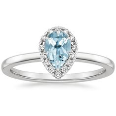 Aquamarine Vienna Engagement Ring (1/4 ct. tw.) - Platinum