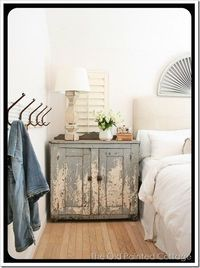 blue distressed cabinet. yes please.