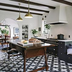 """""""The second we laid our eyes on @jhinteriordesign's Spanish-influenced kitchen, it was love at first site! SO, we asked her to put together a boutique to…"""""""