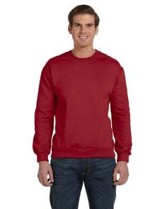 Anvil mens Combed Ringspun Fashion Fleece Crew Neck Sweatshirt (71000), Adult Unisex, Size: Small, Red