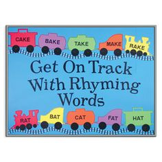 Great idea for displaying various rhyming. Could also do the same for word families. Train Theme Classroom, Classroom Bulletin Boards, Classroom Themes, Train Bulletin Boards, Reading Bulletin Boards, Rhyming Activities, Preschool Literacy, Reading Display, Little Engine That Could