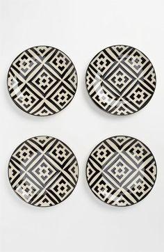 Black & White Dessert Plates (Set of 4)